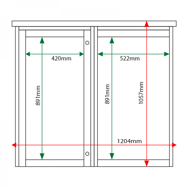 External & internal dimensions of 2-bay, 6 x A4 Man-made Timber noticeboard, 1 bay glazed, portrait format
