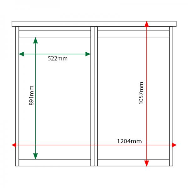 External & internal dimensions of 2-bay, 6 x A4 Man-made Timber noticeboard, unglazed, portrait format