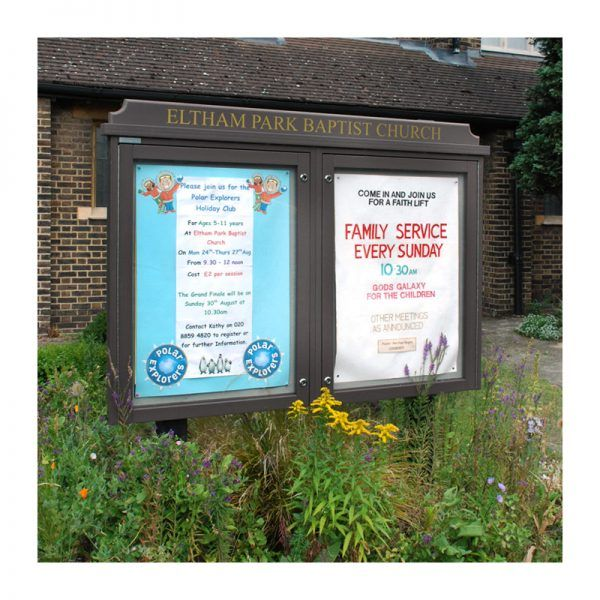 2-bay, 9 x A4 Man-made Timber noticeboard, Eltham Park Baptist Church