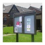 2-bay, 9 x A4 Man-made Timber noticeboard, post-mounted, market Harborough Methodist Church