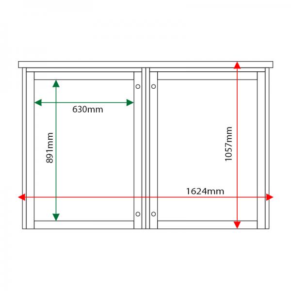 External & internal dimensions of 2-bay, 9 x A4 Man-made Timber noticeboard