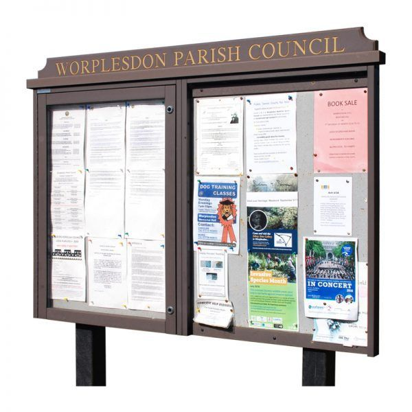 2-bay, 9 x A4 Man-made Timber noticeboard, 1 bay glazed