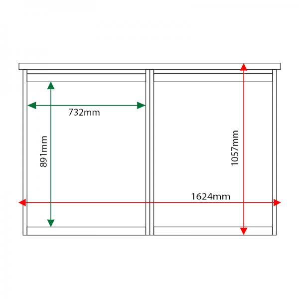 External & internal dimensions of 2-bay, 9 x A4 Man-made Timber noticeboard, unglazed