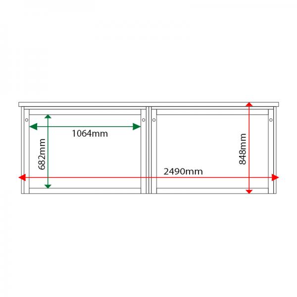 External & internal dimensions of 2-bay, 10 x A4 Man-made Timber noticeboard