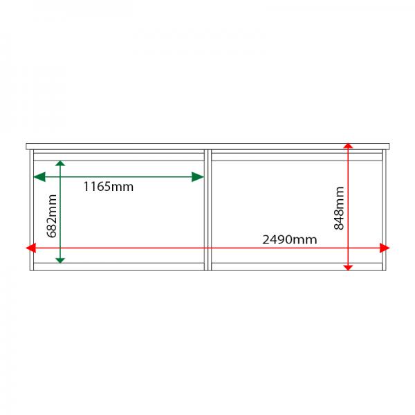 External & internal dimensions of 2-bay, 10 x A4 Man-made Timber noticeboard, unglazed