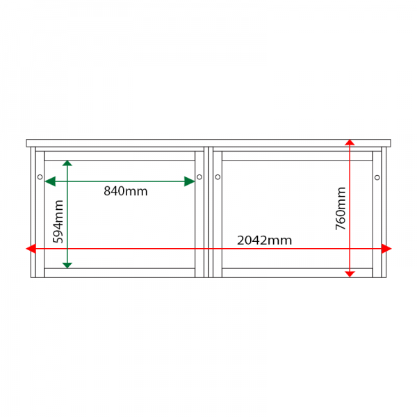 External & internal dimensions of 2-bay, 8 x A4 Man-made Timber noticeboard