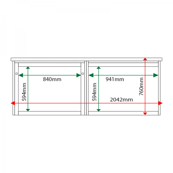 External & internal dimensions of 2-bay, 8 x A4 Man-made Timber noticeboard, 1 bay glazed
