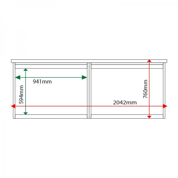 External & internal dimensions of 2-bay, 8 x A4 Man-made Timber noticeboard, unglazed