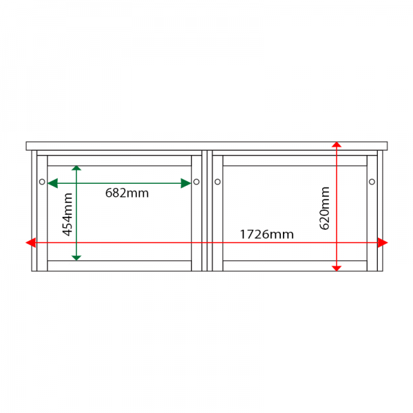 External & internal dimensions of 2-bay, 3 x A4 Man-made Timber noticeboard