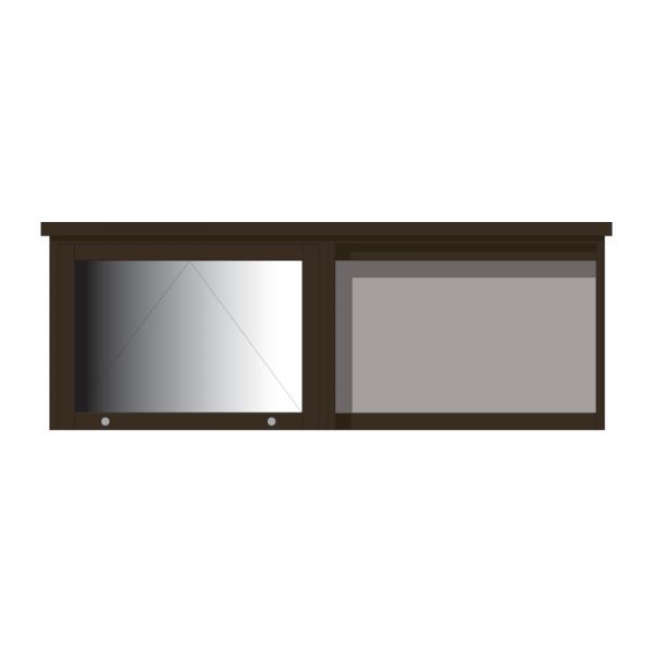 2-bay, 3 x A4 Man-made Timber noticeboard, 1 bay glazed