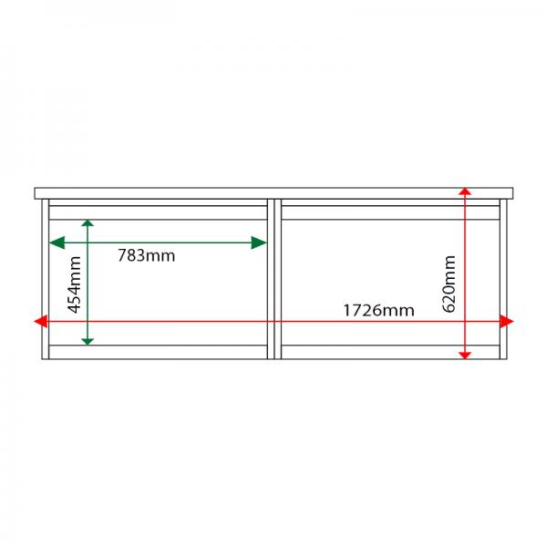 External & internal dimensions of 2-bay, 3 x A4 Man-made Timber noticeboard, unglazed