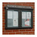 2-bay, 4 x A4 Man-made Timber noticeboard, wall-mounted, Ellendune Community Centre
