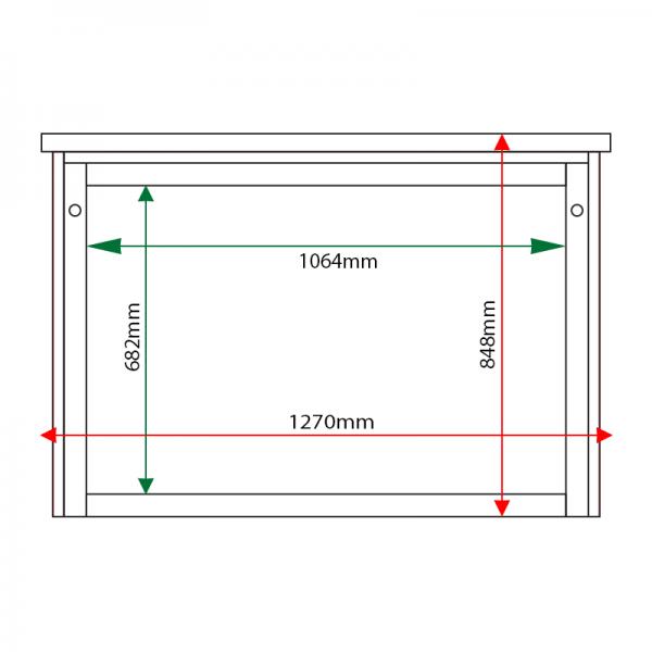 External & internal dimensions of 10 x A4 Man-made Timber noticeboard