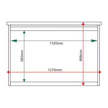 External & internal dimensions of 10 x A4 Man-made Timber noticeboard, unglazed