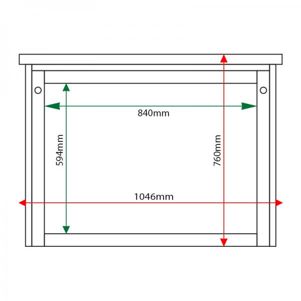 External & internal dimensions of 8 x A4 Man-made Timber noticeboard