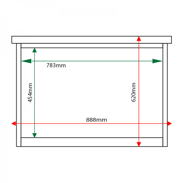 External & internal dimensions of 3 x A4 Man-made Timber noticeboard, unglazed