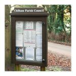 External & internal dimensions of 4 x A4 Man-made Timber noticeboard, post-mounted, Chilham Parish Council