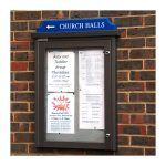 4 x A4 Man-made Timber noticeboard, wall-mounted with coloured header, Beaconsfield United Reform Church