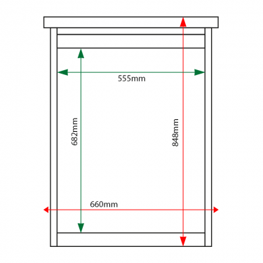 External & internal dimensions of 4 x A4 Man-made Timber noticeboard, unglazed
