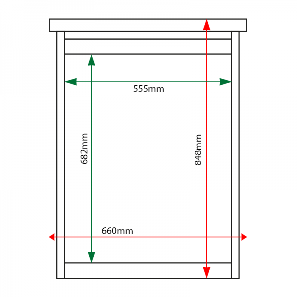 External & internal dimensions of 4 x A4 Man-made Timber noticeboard, unglazed