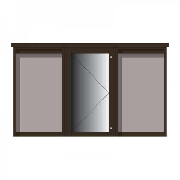 3-bay, 6 x A4 Man-made Timber noticeboard, 1-bay glazed