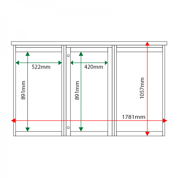 External & internal dimensions of 3-bay, 6 x A4 Man-made Timber noticeboard, 1-bay glazed
