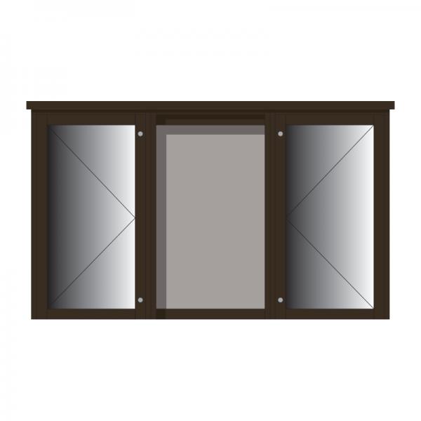 3-bay, 6 x A4 Man-made Timber noticeboard, 2-bays glazed