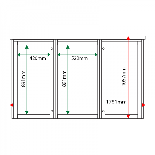 External & internal dimensions of 3-bay, 6 x A4 Man-made Timber noticeboard, 2-bays glazed