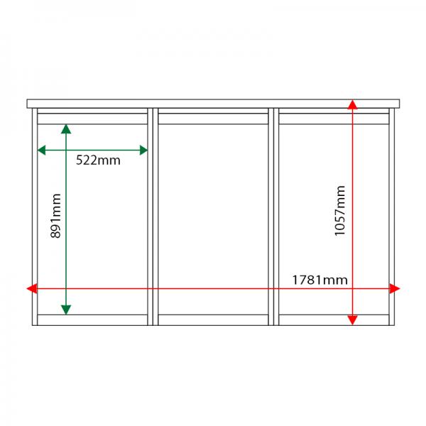 External & internal dimensions of 3-bay, 6 x A4 Man-made Timber noticeboard, unglazed