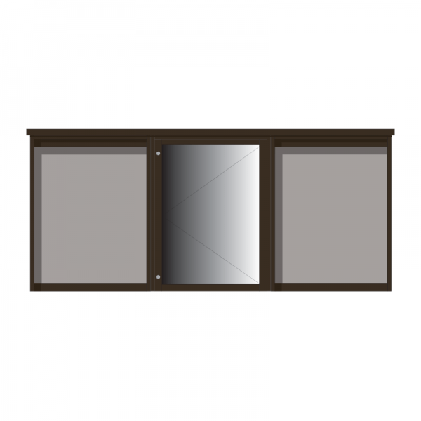 3-bay, 9 x A4 Man-made Timber noticeboard, 1-bay glazed