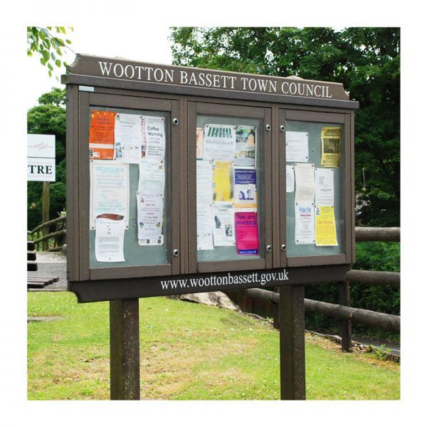3-bay, 4 x A4 Man-made Timber noticeboard with header and footer panels, for Wootton Bassett Town Council