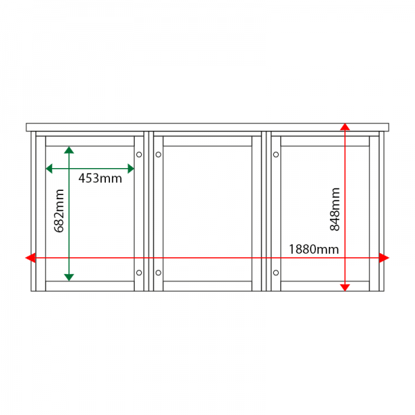 External & internal dimensions of 3-bay, 4 x A4 Man-made Timber noticeboard