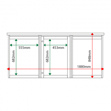 External & internal dimensions of 3-bay, 4 x A4 Man-made Timber noticeboard, 1-bay glazed