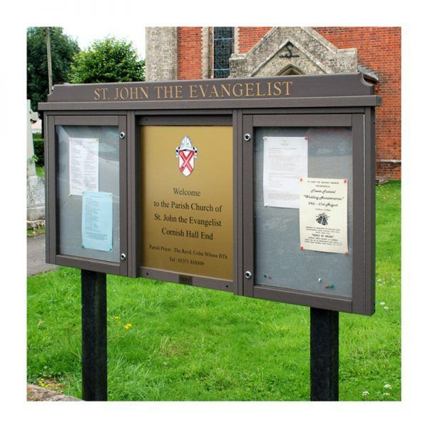 3-bay, 4 x A4 Man-made Timber noticeboard, 2-bays glazed, St John the Evangelist Church, Cornish Hall End