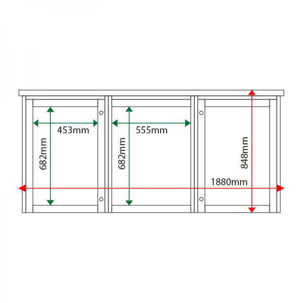 External & internal dimensions of 3-bay, 4 x A4 Man-made Timber noticeboard, 2-bays glazed