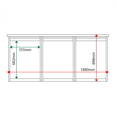 External & internal dimensions of 3-bay, 4 x A4 Man-made Timber noticeboard, unglazed