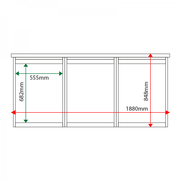 External & internal dimensions of 3-bay, 4 x A4 Man-made Timber noticeboard, unglazed