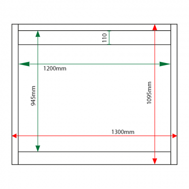 External & internal dimensions of 15 x A4 Apogee, heavy-duty, unglazed, recycled plastic noticeboard
