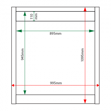 External & internal dimensions of 12 x A4 Apogee, heavy-duty, unglazed, recycled plastic noticeboard