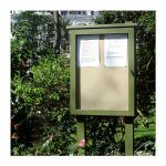 4 x A4 oak noticeboard, chosen in a London garden square