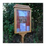 4 x A4 oak noticeboard on single post with light oak finish for Churches Conservation Trust, St Peter's, Preston Park