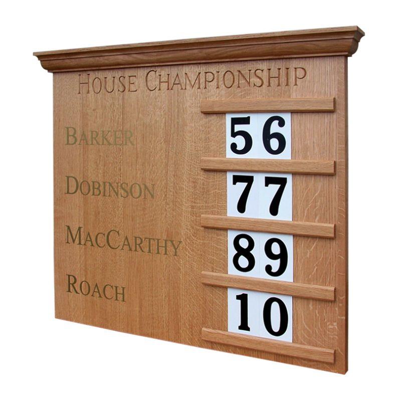 Cabinet-making projects for schools: Bespoke house score board in clear-lacquered oak for King Edward's School, Five Ways, Birmingham