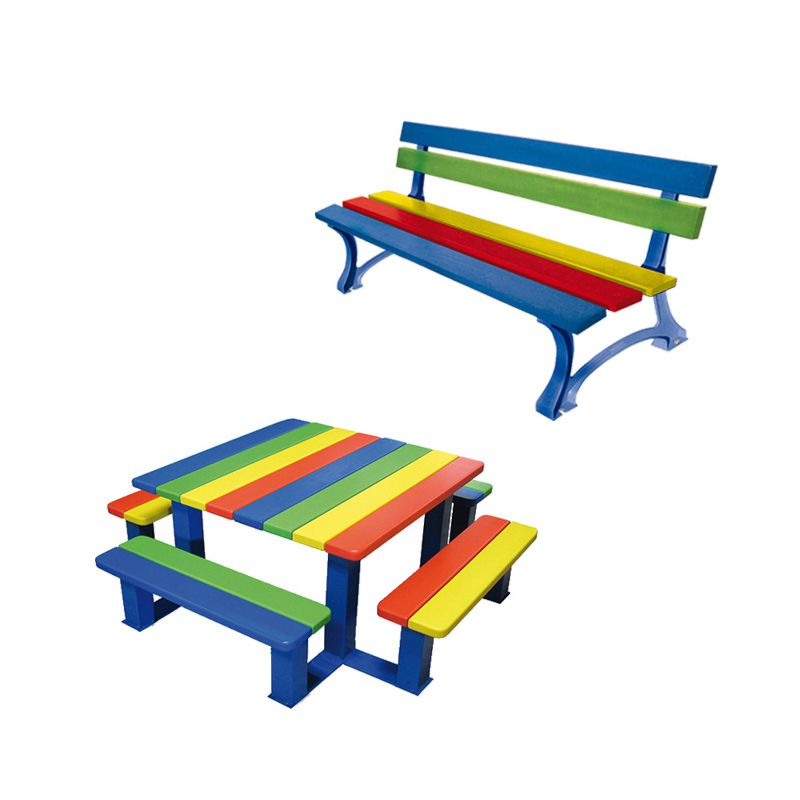 Outdoor furniture for Schools: Brightly-coloured, powder-coated steel seat and picnic bench