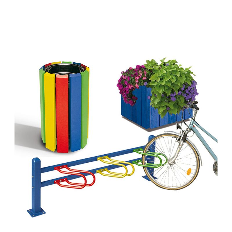 Outdoor furniture for Schools: Brightly-coloured litter bin, bicycle rack and planter