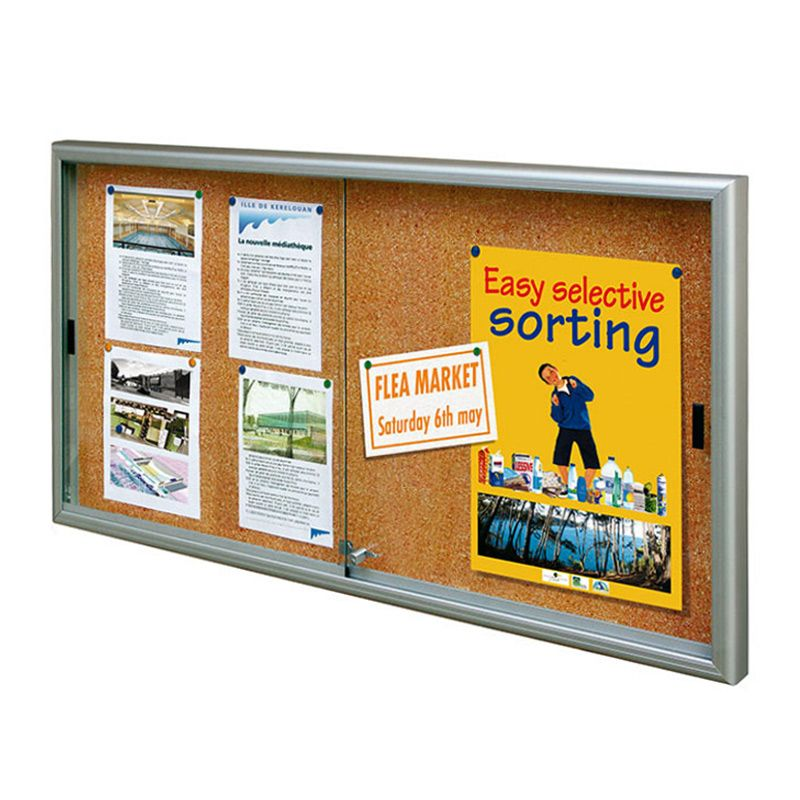 Internal noticeboards for Schools: Glazed, lockable board with cork backing