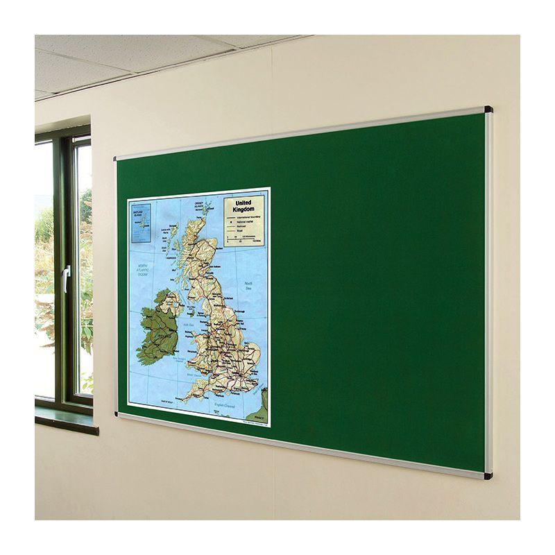Internal noticeboards for Schools: Aluminium-framed, fabric-covered pinboard