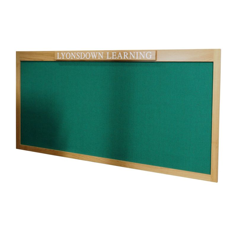 Internal noticeboards for Schools: Bespoke, oak-framed noticeboard with fabric-covered pinboard for Lyonsdown School