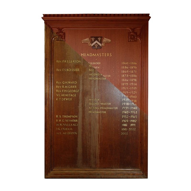 Special projects for schools: Refurbishment of water-damaged honours board for Bloxham School
