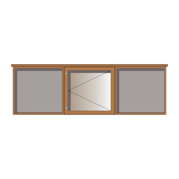 3-bay, 6 x A4 oak noticeboard, 1-bay glazed