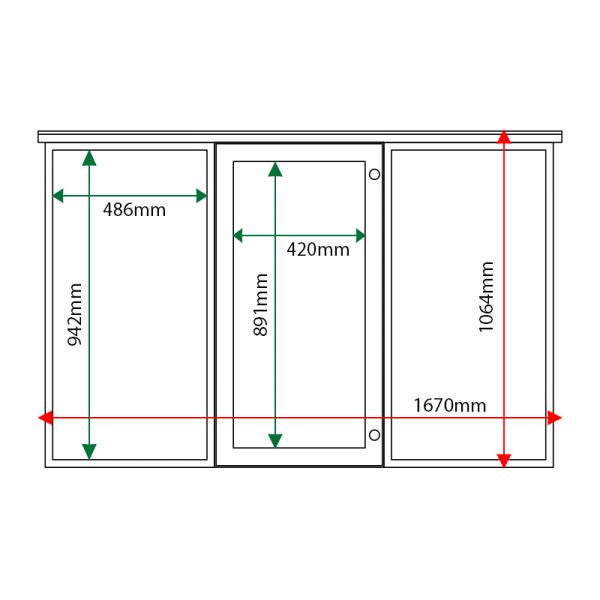 External & internal dimensions of 3-bay, 6 x A4 oak noticeboard, 1-bay glazed